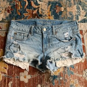AEO Stretch Denim Shorts with Lace